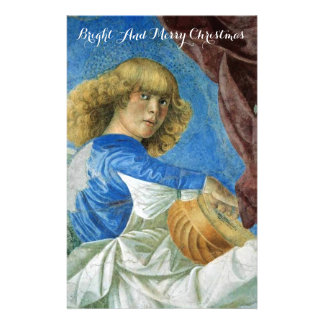 MUSIC MAKING CHRISTMAS ANGEL IN BLUE Lute Player Stationery