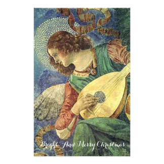 MUSIC MAKING CHRISTMAS ANGEL Lute Player Stationery