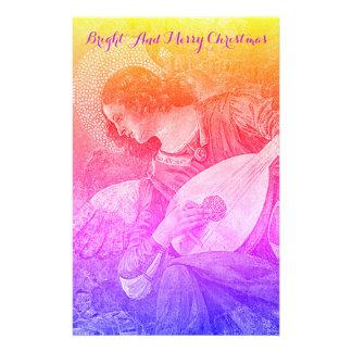 MUSIC MAKING CHRISTMAS ANGEL Pink Blue Yellow Stationery
