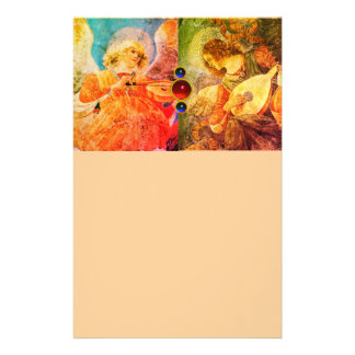 MUSIC MAKING CHRISTMAS ANGELS ,Yellow Peach Stationery