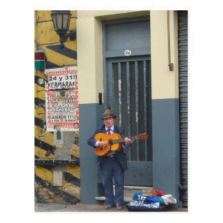 Music Man on Street in Buenos Aires Postcard