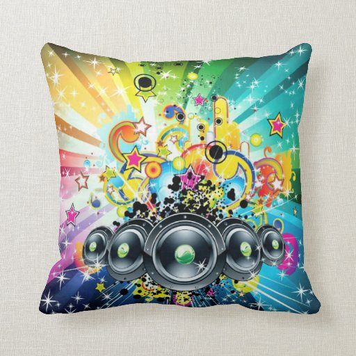 Music Mania Throw Pillow