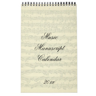 Music Manuscript Excerpts Current Year Calendar