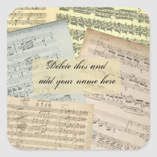 Music Manuscript Name Sticker