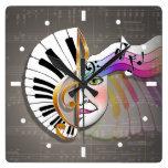 MUSIC MASK PIANO KEYBOARD WALL CLOCK