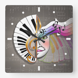 MUSIC MASK PIANO KEYBOARD WALL CLOCK