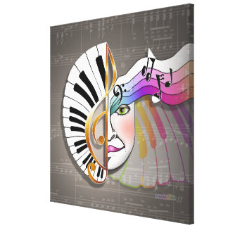 MUSIC MASK (sq) Gallery Wrapped Canvas