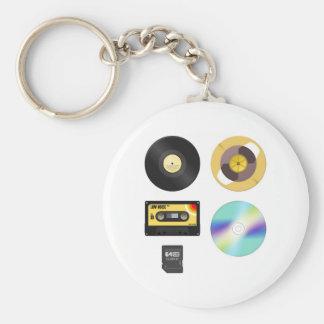 Music Media Basic Round Button Keychain