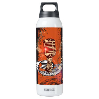 Music, Microphone 16 Oz Insulated SIGG Thermos Water Bottle