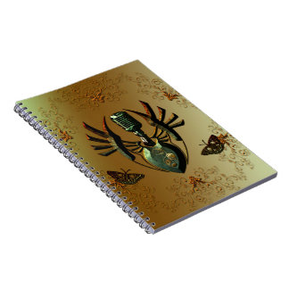 Music, microphone on green shield notebooks