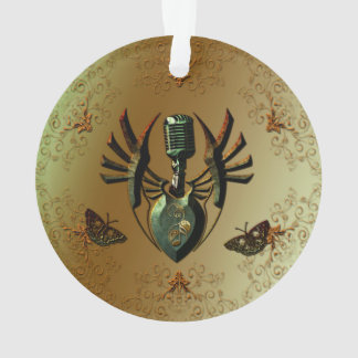 Music, microphone on green shield ornament