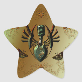 Music, microphone on green shield star sticker