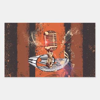 Music, Microphone Rectangular Sticker