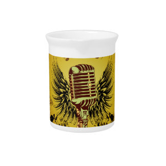 Music, microphone with wings beverage pitcher