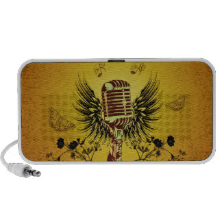 Music, microphone with wings speaker