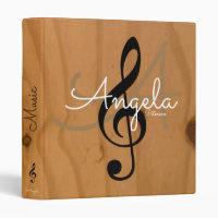 music monogram on image of wood, my songs binder