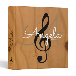 music monogram on image of wood, my songs binder