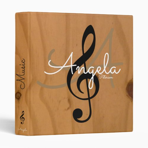 music monogram on image of wood my songs binder