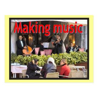 Music,  Music,  Making music, cafe quartet Postcards