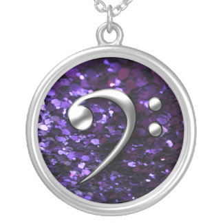 Music Necklace: Chrome Bass Clef on Purple Glitter Silver Plated Necklace