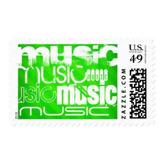 Music; Neon Green Stripes Stamp