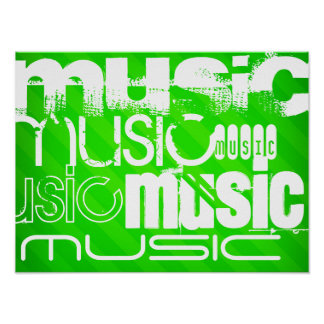 Music; Neon Green Stripes Poster