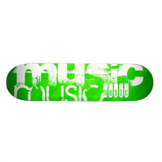 Music; Neon Green Stripes Skate Board