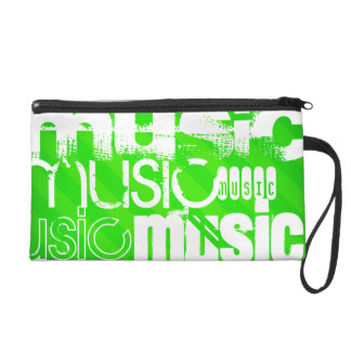 Music; Neon Green Stripes Wristlet