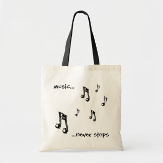 Music never stops tote canvas bag