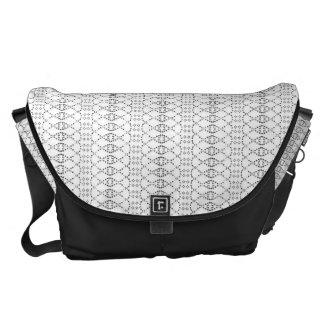 Music Nordic Knit Text ASCII Art Black and White Messenger Bag