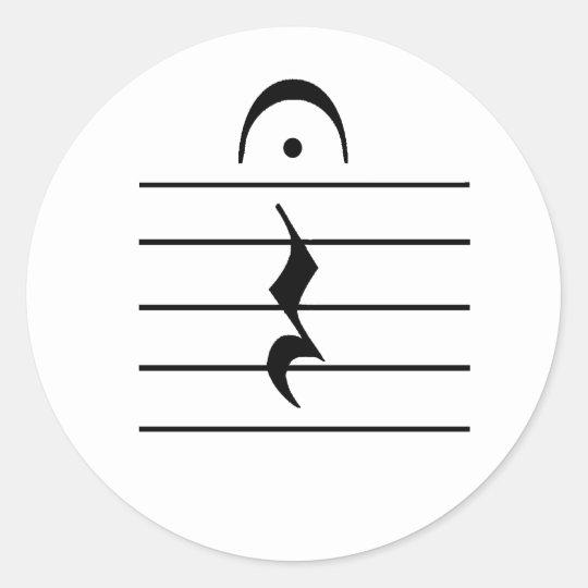 Music Notation Rest Blank Classic Round Sticker