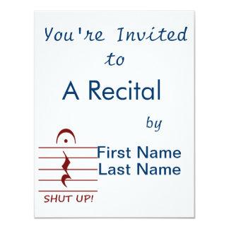 Music Notation Rest with Shut up Maroon Custom Invitations