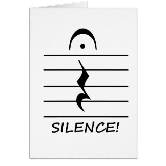 Music Notation Rest with Silence Stationery Note Card