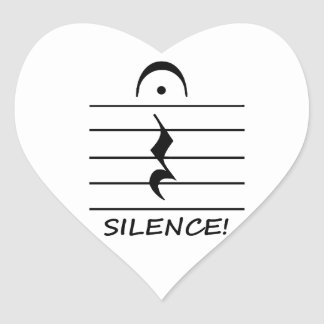 Music Notation Rest with Silence Heart Stickers