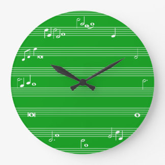 Music notation time clock - Green and white