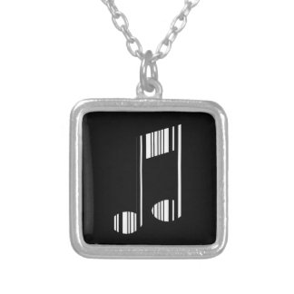 MUSIC NOTE BAR CODE Musical Barcode Pattern Silver Plated Necklace