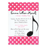 Music Note  birthday party invite cool pink dots