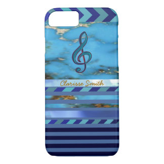 music note, blue stripes and name new iPhone 7 case