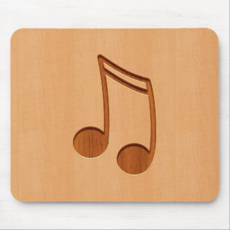Music note engraved on wood design mouse pad