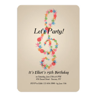 Music Note Invitation at Zazzle