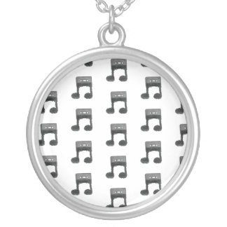 MUSIC NOTE Large Silver Plated Round Necklace