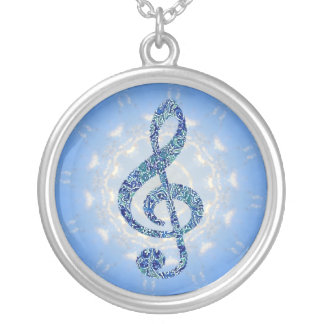Music Note Necklace - Blue Treble Clef