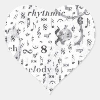 Music Note Pattern Music Theme Heart Sticker