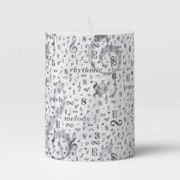 Music Note Pattern Music Theme Pillar Candle