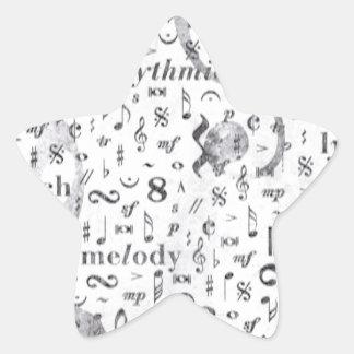 Music Note Pattern Music Theme Star Sticker