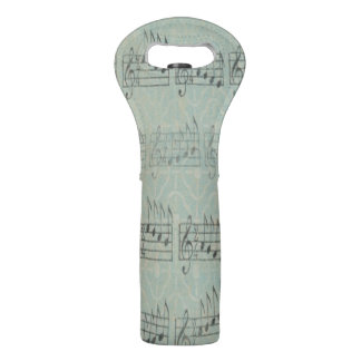 music note Pattern Music Theme Wine Bottle tote Wine Bag