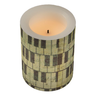 Music Note Pattern Piano Key Music Theme LED Candl Flameless Candle