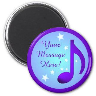 Music Note Purple Blue Circle Stars Customizable Refrigerator Magnet