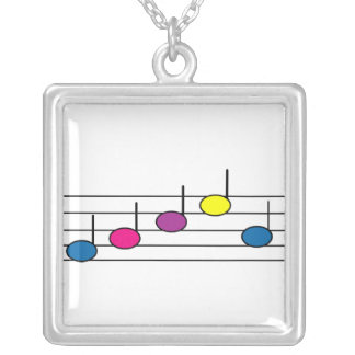 Music Note Purple Pink Yellow Blue Necklace