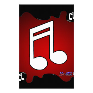 MUSIC NOTE RED BACKGROUND PRODUCTS STATIONERY
